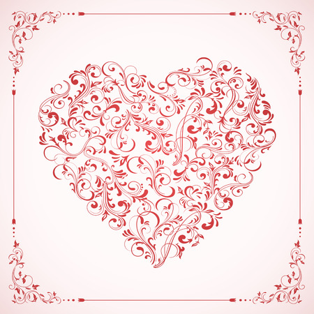 st valentin's day: Valentines card with pink Heart and frame from ornate elements, illustration.