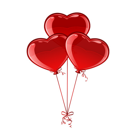 Three red balloons in the form of Valentines hearts isolated on white background, illustration. Vector