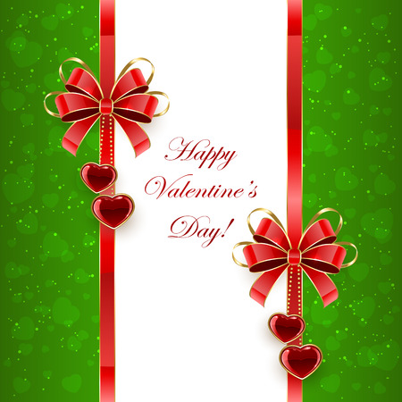 st valentins day: Green Valentines background with shining hearts and red bows, illustration. Illustration