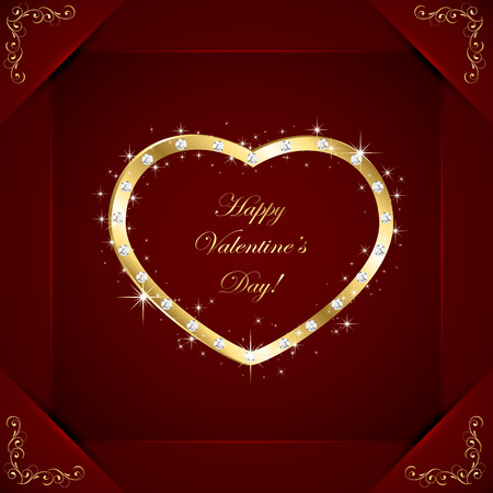 st valentins day: Golden heart with diamonds on red Valentines background, illustration.