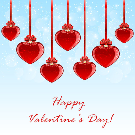 st valentin's day: Red Valentines hearts with bow on blue background, illustration.