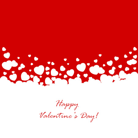 st valentin's day: Abstract red background with white Valentines hearts, illustration. Illustration