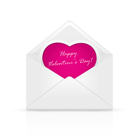 st valentins day: Open envelope mail with Valentines congratulation on pink heart, illustration.