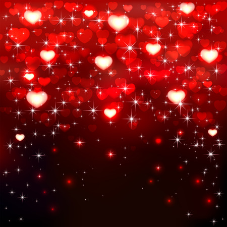 st valentin's day: Dark background with shiny red hearts and stars, illustration. Illustration