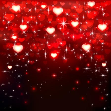 st valentins day: Sfondo scuro con cuori rossi lucidi e stelle, illustrazione. Vettoriali