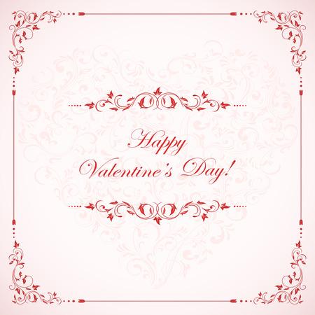 st valentin's day: Valentines card with pink ornate elements, illustration. Illustration
