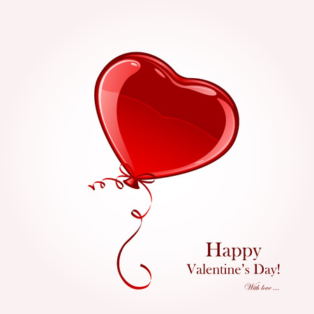 st valentin's day: Valentine balloon in the form of red heart, illustration.