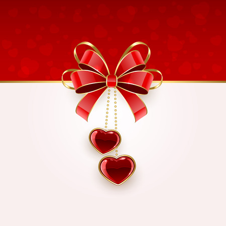 st valentins day: Valentines background with two shining hearts and red bow, illustration.