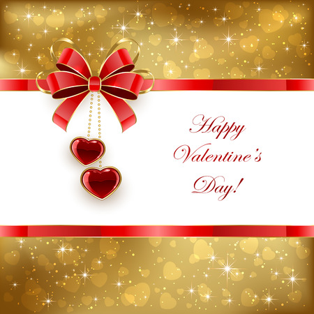st valentins day: Golden Valentines background with shining hearts and bow, illustration.