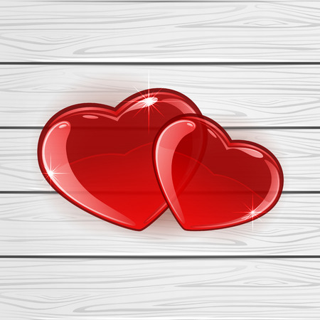 Red hearts on white wooden background, illustration. Vector