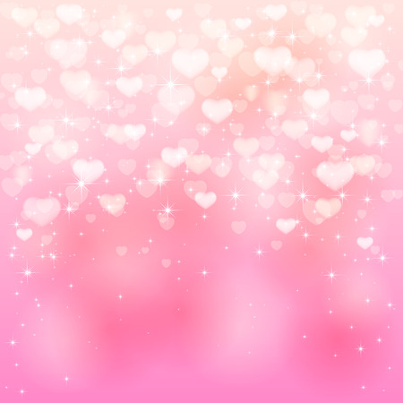 Valentines background with pink hearts and stars, illustration.