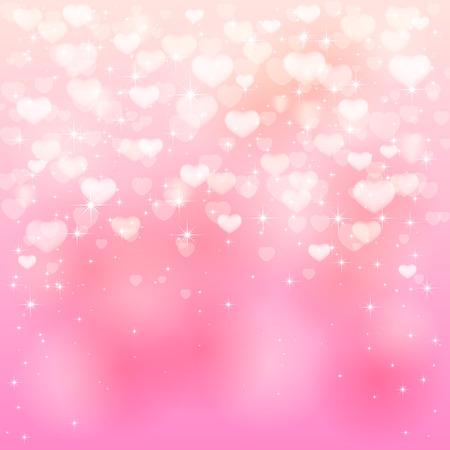 st valentins day: San Valentino sfondo con cuori rosa e stelle, illustrazione.