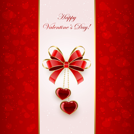 st valentins day: Valentines background with red bow and shining hearts, illustration. Illustration