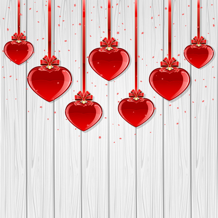 valentines day background: Red Valentines hearts with bow on white wooden background, illustration. Illustration