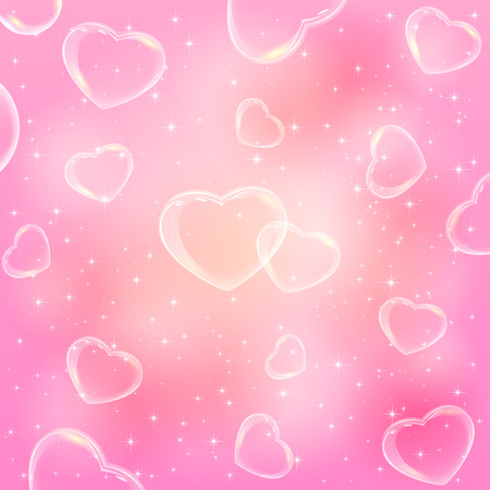st valentins day: Pink Valentines background with shining hearts, illustration. Illustration