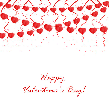 st valentin's day: Valentines background with red pennants in the form of hearts, illustration.