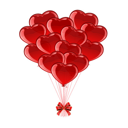 st valentin's day: Valentines heart from red balloons isolated on white background, illustration.