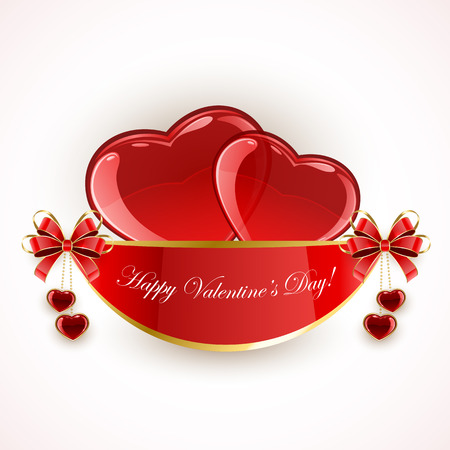 st valentin's day: Valentines background with shining hearts and red bow, illustration.