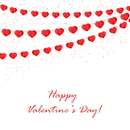 st valentin's day: Valentines background with confetti and red pennants in the form of hearts, illustration. Illustration