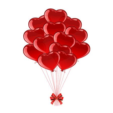 st valentins day: Palloncini rossi in forma di cuori di San Valentino isolato su sfondo bianco, illustrazione.