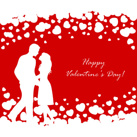 st valentin's day: Abstract red background with white Valentines hearts and couple, illustration.