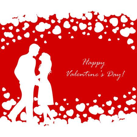 st valentins day: Abstract sfondo rosso con San Valentino bianco cuori e coppia, illustrazione.
