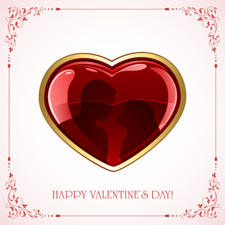 st valentin's day: Red Valentines heart with couple and floral frame, illustration.