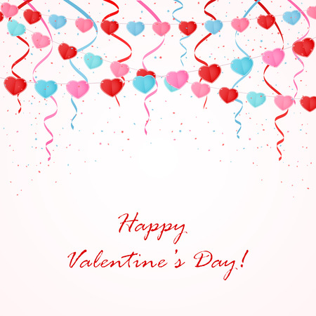 st valentin's day: Valentines background with colorful pennants in the form of hearts, illustration.