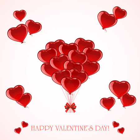 st valentin's day: Red balloons in the form of Valentines heart, illustration. Illustration