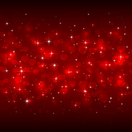 st valentins day: Red Valentines background with hearts and shiny stars, illustration.