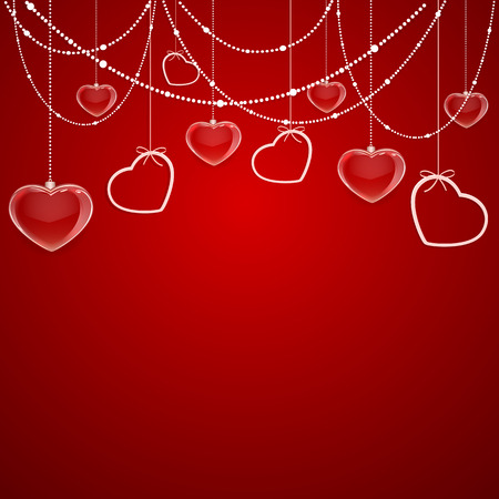 st valentins day: Red Valentines background with hearts and decorative elements, illustration. Illustration