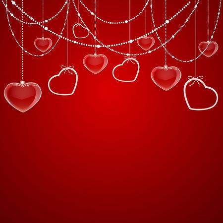 st valentins day: Rosso San Valentino sfondo con i cuori e gli elementi decorativi, illustrazione. Vettoriali