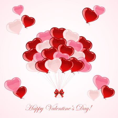 st valentin's day: Colorful balloons in the form of Valentines hearts, illustration. Illustration