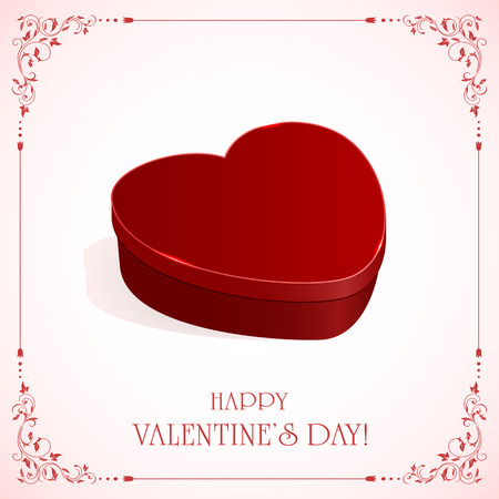 st valentin's day: Gift box in form of heart on pink background with ornate frame, illustration. Illustration