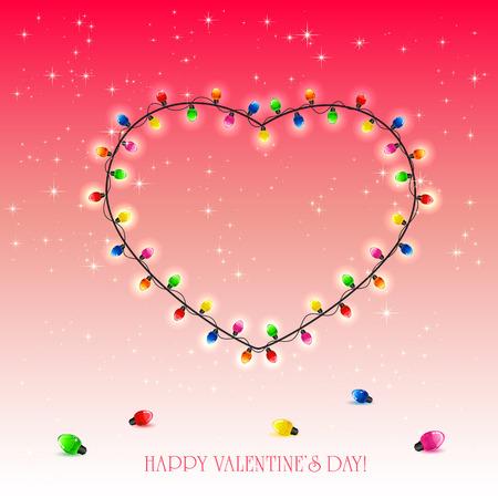 st valentins day: San Valentino cuore da luci colorate su sfondo rosso, illustrazione.