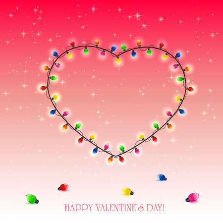 st valentin's day: Valentines heart from colorful lights on red background, illustration.