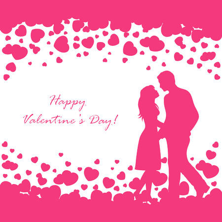 st valentins day: Abstract background with pink Valentines hearts and couple, illustration.