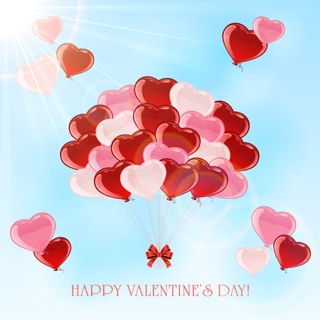 st valentin's day: Colorful balloons in the form of Valentines heart on sky background, illustration.