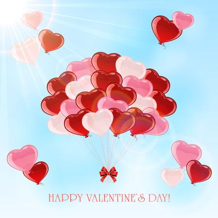 st valentins day: Palloncini colorati in forma di San Valentino cuore su sfondo cielo, illustrazione. Vettoriali