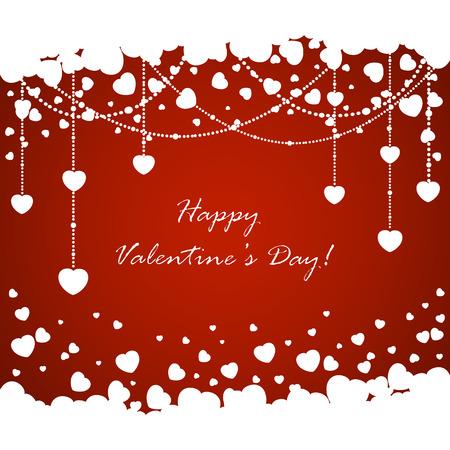 st valentins day: Cuori di San Valentino ed elementi decorativi su fondo rosso, illustrazione. Vettoriali