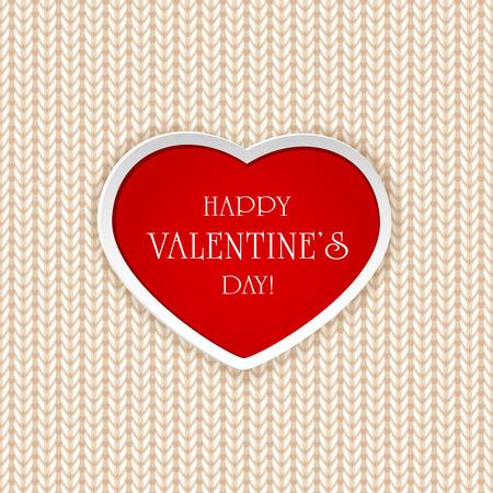 st valentins day: San Valentino sfondo con cuore rosso sul modello di maglia, illustrazione. Vettoriali