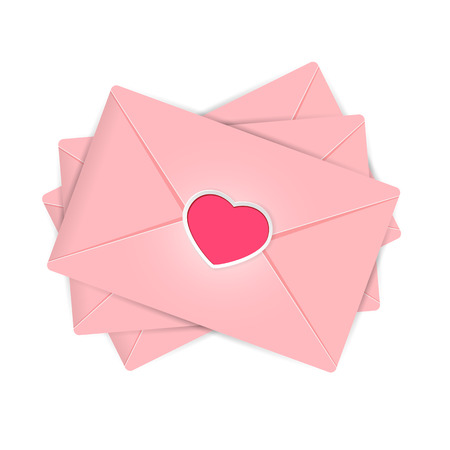 st valentines day: Set of pink envelopes with Valentines heart, illustration. Illustration