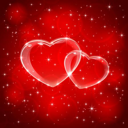 st valentins day: Rosso San Valentino sfondo con due cuori, illustrazione.