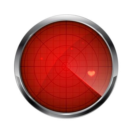 心臓、白い背景、イラストに分離された円形のアイコンと赤いレーダー。
