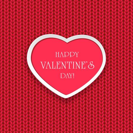 st valentins day: San Valentino sfondo con il cuore rosa su maglia modello, illustrazione. Vettoriali
