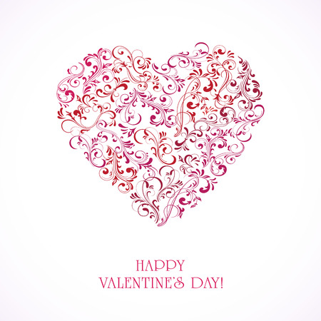 st valentin's day: Valentines card with Heart from ornate elements, illustration.