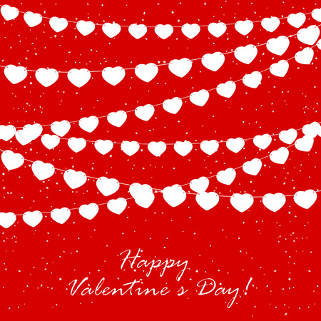 st valentins day: Red Valentines background with confetti and pennants in the form of hearts, illustration. Illustration