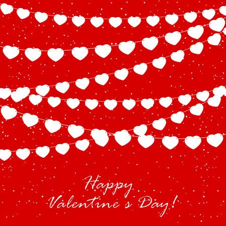 st valentins day: Rosso San Valentino sfondo con coriandoli e bandierine in forma di cuori, illustrazione.