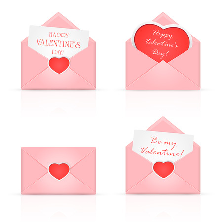 Set of pink envelopes with Valentines heart and congratulations, illustration. Vector