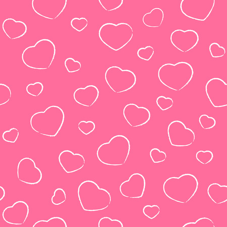 st valentin's day: Seamless pink background with drawing Valentines hearts, illustration. Illustration